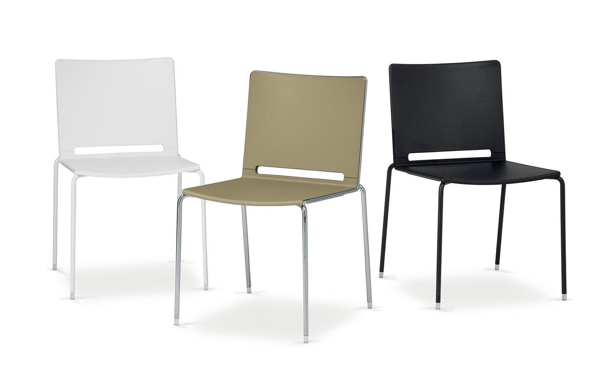 UF 170, Gepolsterter Stuhl aus Metall und Kunststoff, in verschiedenen Farben
