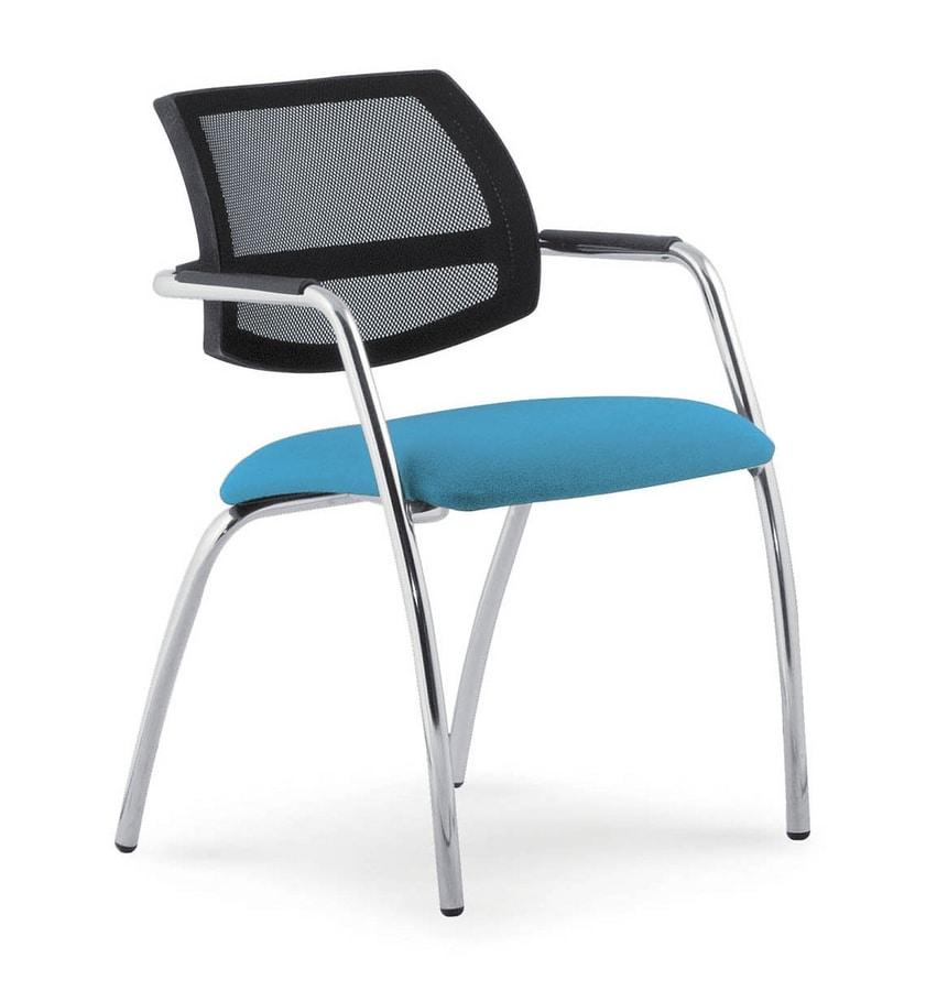 UF 133, Gepolsterter Stuhl mit Netzrücken, für Tagungen
