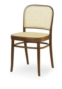 06, Holzstuhl mit Sitz und Rückenlehne in Rohr