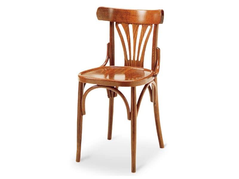 092, Stuhl aus Holz ohne Armlehnen, im alten Stil