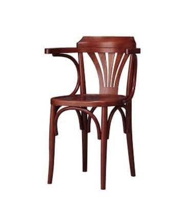 132, Licht Stuhl aus gebogenem Buchen, mit Armlehnen, für Bars