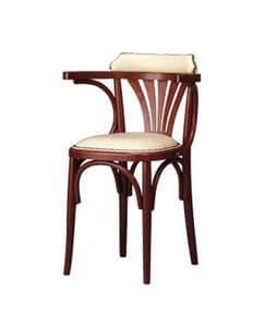 133, Polsterstuhl aus gebogenem Holz für Bar und Bistro