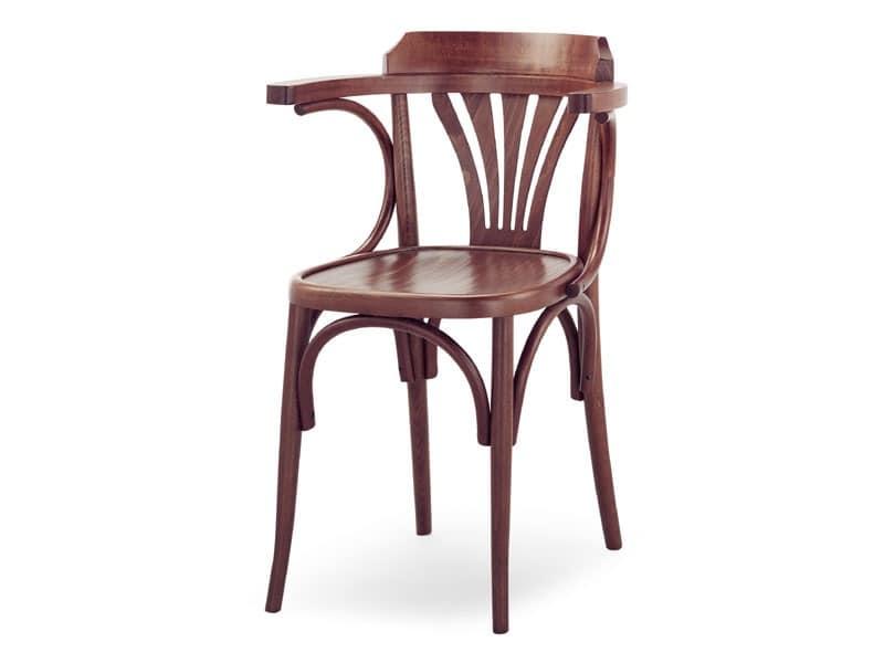 600, Holzstuhl mit Armlehnen, Wiener Stil