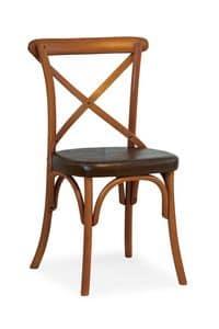 Ciao TI, Stuhl in Buche, Sitz aus Kunstleder überzogen