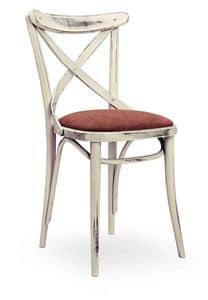 Croce Imb, Stuhl aus Massivholz, Sitz gepolstert