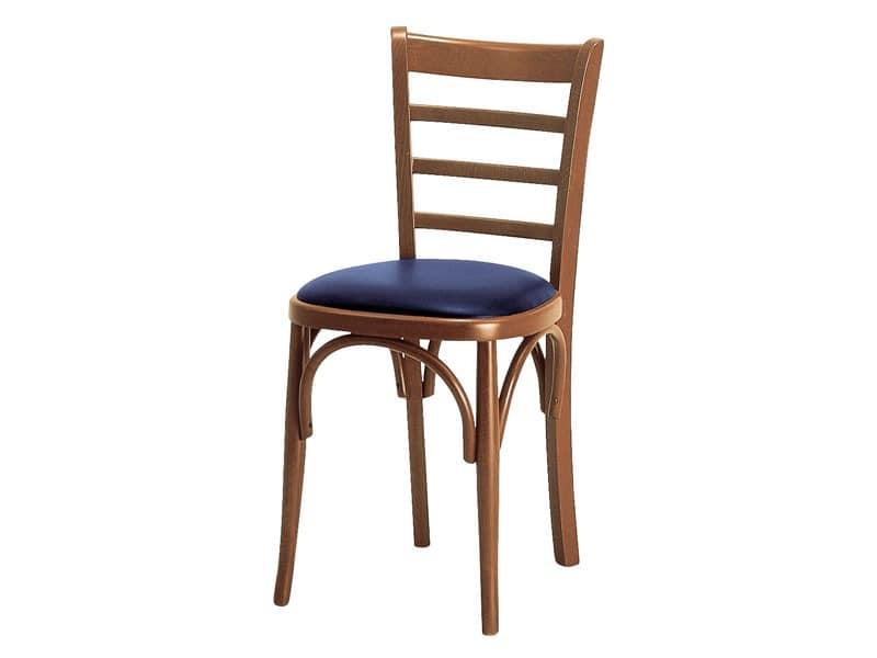 H/a, Gepolsterter Stuhl mit Rückenlehne aus Holz mit horizontalen Lamellen