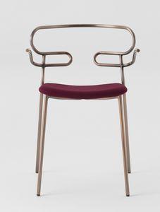 ART. 0048-MET-IM GENOA, Metallstuhl mit Armlehnen, gepolsterter Sitz