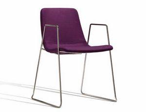 Ics 506VBZ, Stapelbarer Stuhl aus Metall mit Armlehnen