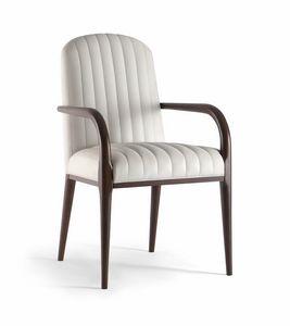 PARIGI SIDE CHAIR 038 SB, Gepolsterter Stuhl aus Massivholz mit Armlehnen