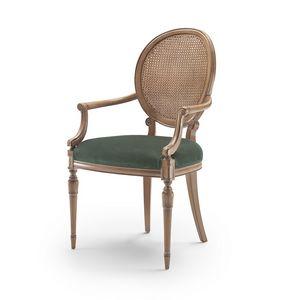 Sessel 9022 LXV-Stil, Stuhl im klassischen Stil mit Armlehnen