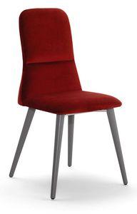 Corinne W, Stuhl mit Holzbeinen, hohe Rückenlehne