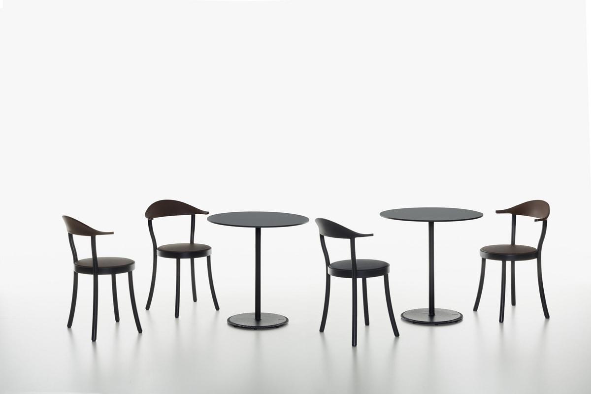 Monza Bistro mod. 1212-20, Stuhl mit rundem Sitz, in Buche und Kunststoff