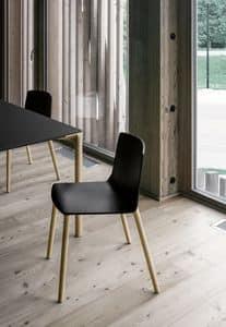 Rama Wood Base polypropylene, Plastikstuhl mit Holzbeinen, für Konferenzen