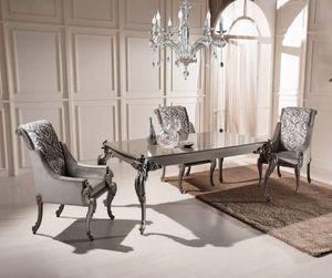 Ausziehbarer rechteckiger Tisch und Sessel, Esstisch und Sessel, Outlet-Preis