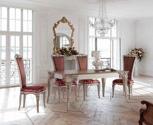 Ausziehbarer rechteckiger Tisch und Stühle, Outlet Esstisch und Stühle