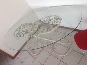 TA-MA01, Ovaler Tisch, mit handgeschmiedetem und handgemaltem Sockel