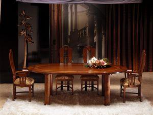 TA28 Zebrano Tisch, Ovaler Tisch mit Holzplatte