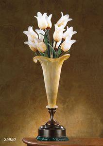 Art. 25950 Butterfly, Tischlampe aus Messing mit geblasenen Gläsern aus Murano