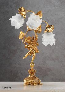 Art. MER 553, Tischlampe mit Rosen aus Muranoglas
