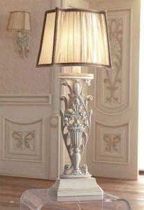 Luigi XVI Art. ABA01/VSIN01/L43, Lampe mit Schirm aus gekräuselter Seide