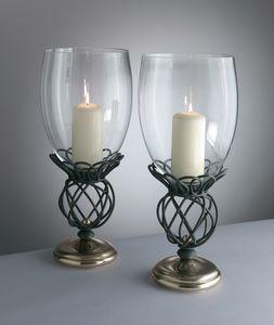 TONDINI HL1092CA-S, Kerzenständer aus Eisen und Messing mit Glas