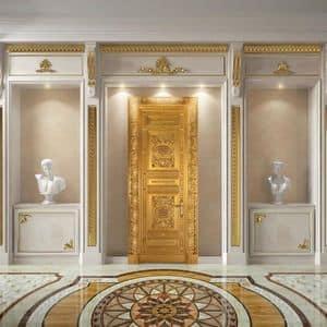 Altair, Luxuriöse hölzerne Tür fein geschnitzte, antike Blattgold -Finish