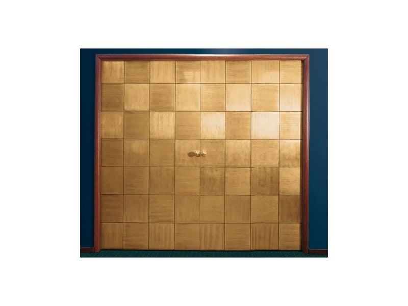 Century, Schiebetür, Schachbrettmuster, von Hand aufgetragen Blattgold