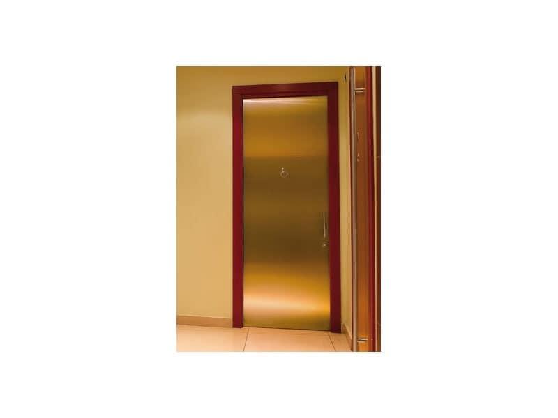 Fortuny, Tür aus gebürstetem Messing, Edelstahl Handgriffe für Bäder von Hotels und Bars