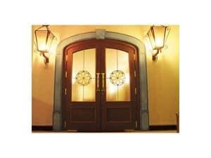 Imperiale, Eingangstür mit Sicherheitsglas, srtruttura massivem Eichenholz, Bodenschließer