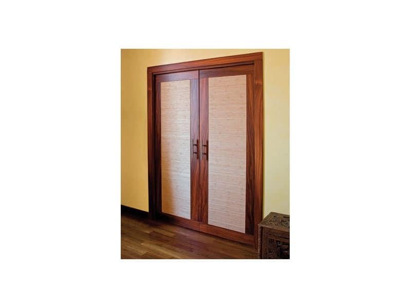 Luxury, Schiebetüren Doppeltüren verborgen, in Rosenholz und Brandschutzgewebe hergestellt