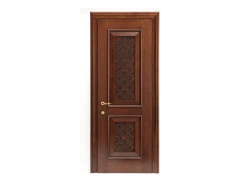 Nadir, Tür in Nussbaum, mit massivem Holz geschnitzt Einsatz, für Hotels und Wohnungen