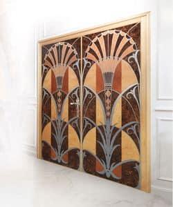 P109 Tür, Tür mit zwei Türen in Einlegearbeiten aus Holz, für die Luxus-Büros