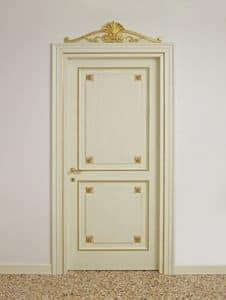 TÜR ART. PT 0002 - PT 0003, Lackierte Türen mit goldenen Verzierungen, für Luxus-Hotels