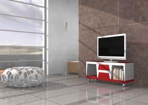 Chara, Mobile TV mit Rädern und Schubladen