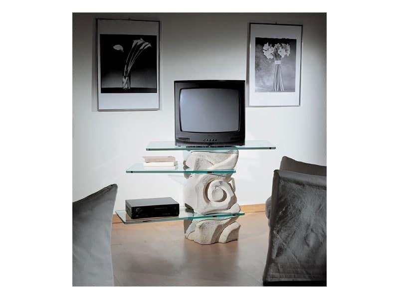 Corallo TV Unit, Swivel TV-Ständer, aus Stein mit Glasböden