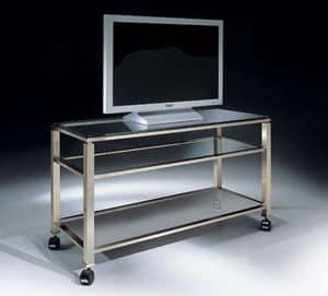 MADISON 3280, TV-Ständer mit Rädern und Glasplatte, für moderne Wohnzimmer