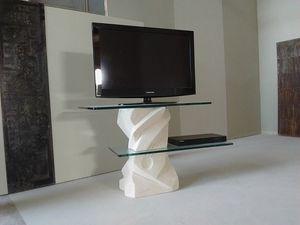 Picasso TV-Ständer, TV-Ständer mit verstellbaren Glasregalen