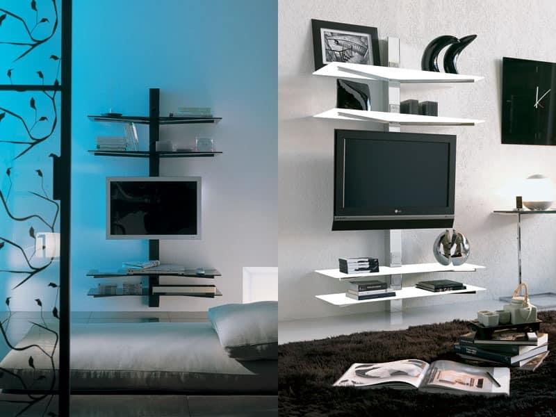 xl82 erik, TV-Ständer, Wandmontage, mit verdeckten Kabelführungen