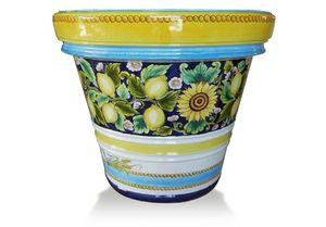 Lemon-Pot Limoni e Girasoli, Handdekorierte Terrakotta-Vase