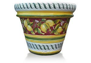 Lemon-Pot Limoni fondo Rosso, Handgefertigte dekorierte Vase