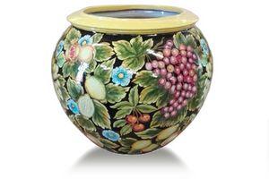 Sphere-Pot Futta fondo nero, Sphärische Vase