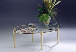 CARTESIO 261, Oval Couchtisch aus Messing, 2 Glasböden, für Wohnzimmer