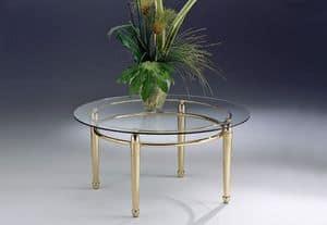 CARTESIO 262, Niedriger Tisch mit linearer Struktur in Messing und Glas