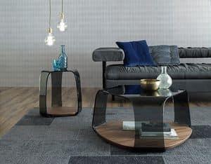 CHAKRA, Tisch mit Holzboden, Glasstruktur