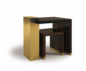 Hopper, Kleine Tische aus Ebenholz und Messing
