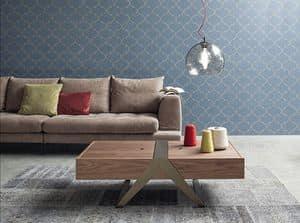 MATRIOSKA, Linear Stil Couchtisch, Holzplatte mit Container