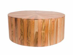 Remix 0499, Runder Tisch aus verschiedenen Holzarten
