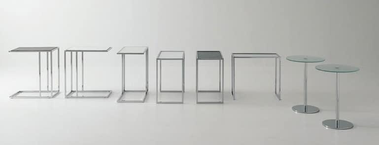 Small tables metal-glass, Couchtisch aus Stahl und Glas, für Gesprächsbereich