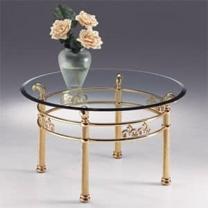VIVALDI 1062, Runder Tisch aus Metall, transparente Glasplatte mit Fase