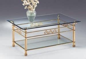 VIVALDI 1064, Tabelle für die Mittelhalle, in poliertem Messing, für Wohnzimmer